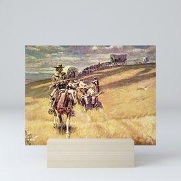 """""""When Wagon Trains Where Dim"""" by Charles M Russell Mini Art Print"""