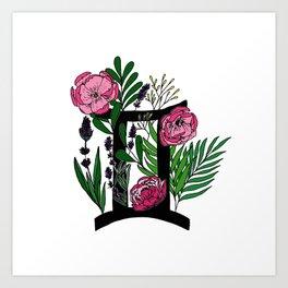 Gemini - coloured floral horoscope Art Print