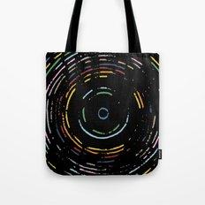 Rainbow Record on Black Closeup Tote Bag
