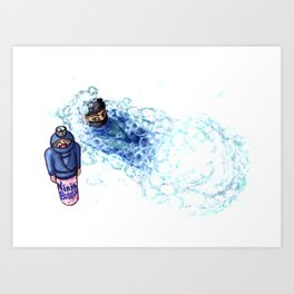 Ninja Stealthily Disappears into Bubble Bath Art Print