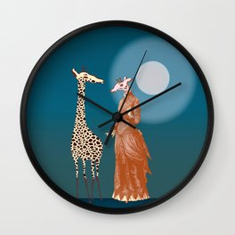 Giraffes - Late night rendezvous Wall Clock