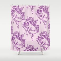 Stupid Pug Cupid Shower Curtain