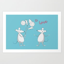 two enamored mouses Art Print