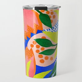 Bold Flowers on Blue Travel Mug