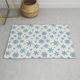 """""""Embroidered"""" Snowflakes on white canvas Rug"""