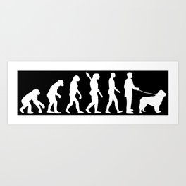 Dog Walker Evolution Funny Newfoundland Art Print