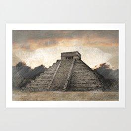 Mayan pyramid - Mexico Art Print