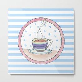 Tea and stripes Metal Print