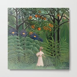 "Henri Rousseau ""Woman Walking in an Exotic Forest"" Metal Print"