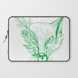 Fox Head With Flower and Leaves Drawing Laptop Sleeve