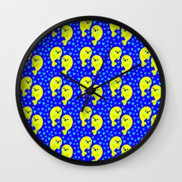Yellow cute sweet baby seals in ocean of blue hearts adorable funny animal pattern. Nursery decor. Wall Clock