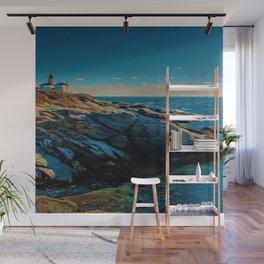 Island of Jamestown, Rhode Island Beaver Tail Lighthouse landscape painting Wall Mural