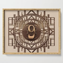 Art Deco Vintage Characters - Number Nine Gold 9 Serving Tray