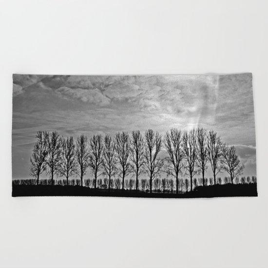 Black and white landscape Beach Towel