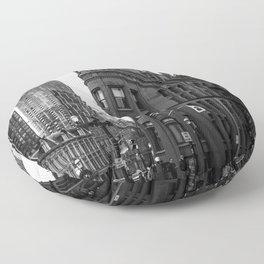 Gooderham building Toronto city Black and white Floor Pillow