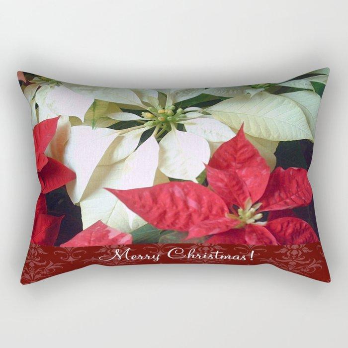 Mixed Color Poinsettias 2 Merry Christmas S5F1 Rectangular Pillow