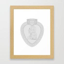 Purple Heart Medal Outline Framed Art Print