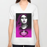 lydia martin V-neck T-shirts featuring Black Heart - Lydia by xKxDx
