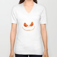 jack skellington V-neck T-shirts featuring Jack Skellington Halloween Smile Flame by alexa
