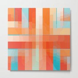 Orange Turquoise Summer Abstract Design Metal Print