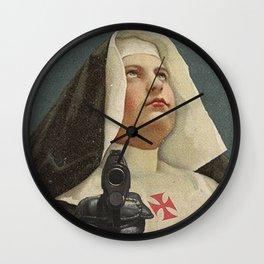 NUN WITH A GUN Wall Clock