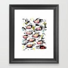 Swimming pigs Framed Art Print