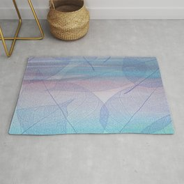 Painterly Pastel Leaves Abstract Rug