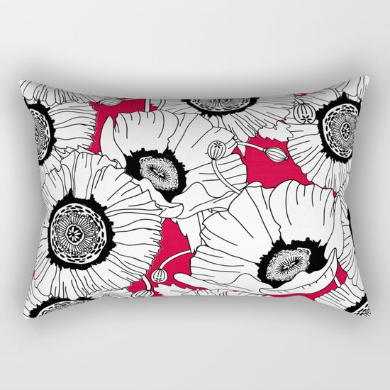 Black and White Poppies in a Red Vase Rectangular Pillow