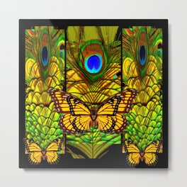 FANTASY YELLOW MONARCH BUTTERFLY PEACOCK FEATHER ART Metal Print
