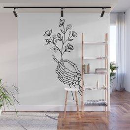 Skeleton Hand Holding Wildflowers Design Wall Mural