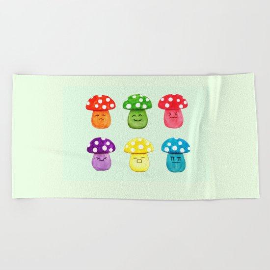 cute mushroom emoji watercolor painting  Beach Towel