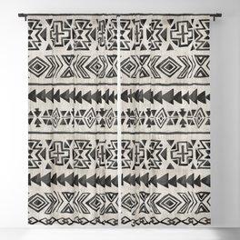 Boho Tribal Black & Cream, Geometric Print, Ink Tribal Decor Blackout Curtain