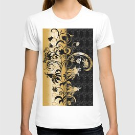 Abstract floral ornament in black and gold colors T-shirt
