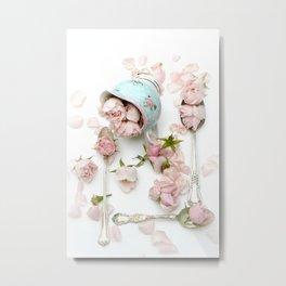 Pink Aqua Shabby Cottage Roses Vintage Spoons  Metal Print