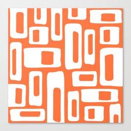 Retro Mid Century Modern Abstract Pattern 335 Orange Canvas Print