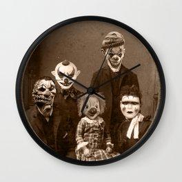Creepy Clown Family Halloween Wall Clock