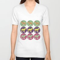 horses V-neck T-shirts featuring Horses by Lorenza Bluetiz
