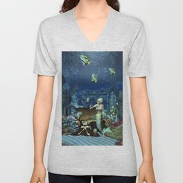 Wonderful mermaid with cute crab Unisex V-Neck