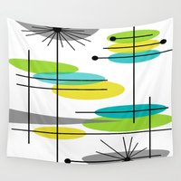 mid century modern Wall Tapestries featuring Mid-Century Modern Atomic Design by Kippygirl
