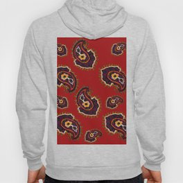 red paisley needle work textile pattern Hoody