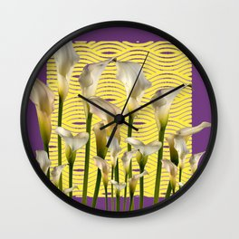 Purple-Yellow Calla Lilies Pattern Wall Clock