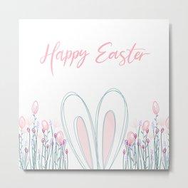 Floral Easter bunny  Metal Print