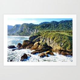 Coastal View in Punakaiki Art Print
