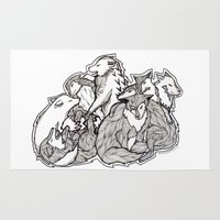 wolves Area & Throw Rugs featuring Wolves by Freja Friborg