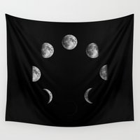 moon phases Wall Tapestries featuring Moon Phases by Bansheeda
