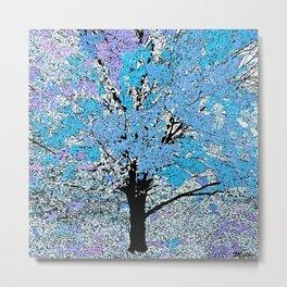 Trees Lilac Blue Metal Print
