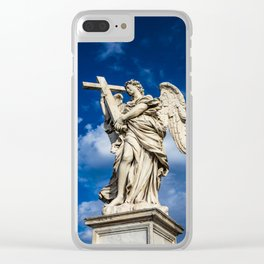 Angel with the cross on the Ponte Sant'Angelo over the Tiber Clear iPhone Case