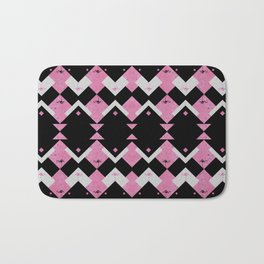 Pink Flamingos Art Deco Pattern Bath Mat