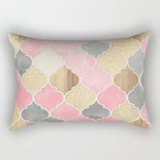 Silver Grey, Soft Pink, Wood & Gold Moroccan Pattern Rectangular Pillow