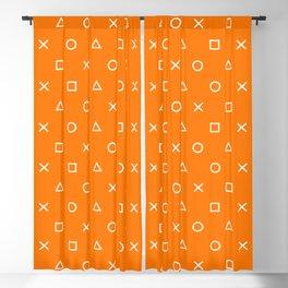 Orange Gamer Pattern Blackout Curtain